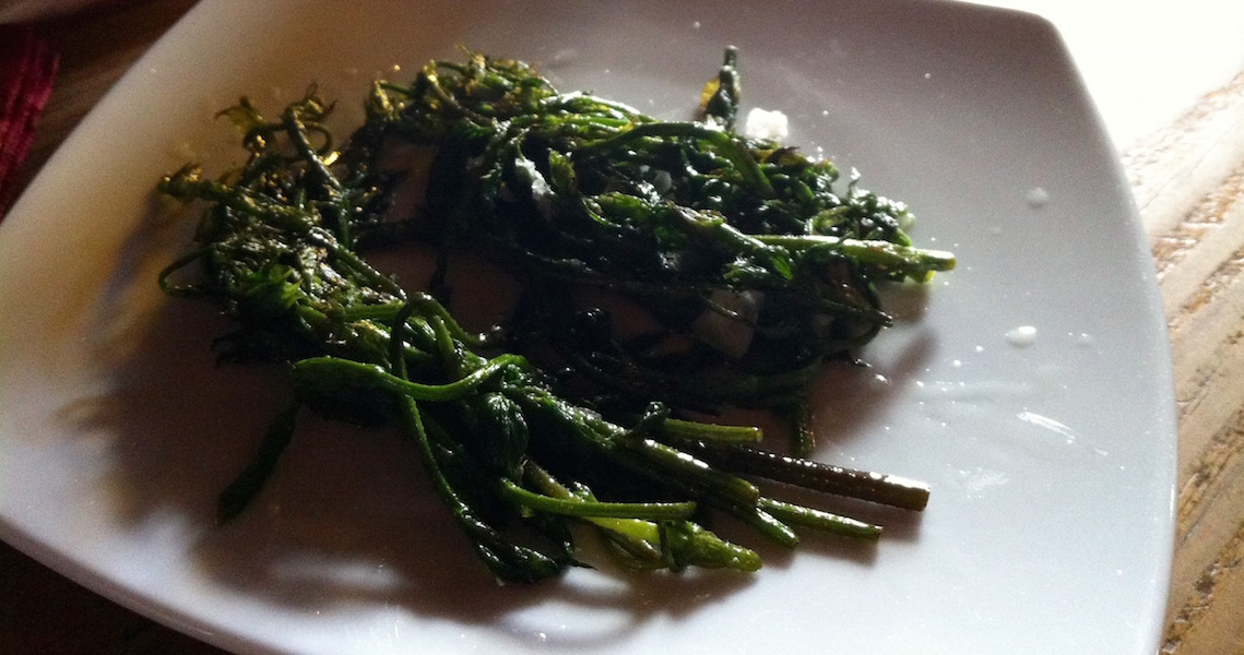 Cooked wild hop shoots
