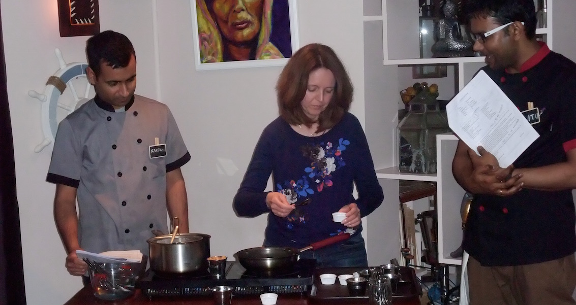 Me taking part in the Indian cookery masterclass at East India Cafe
