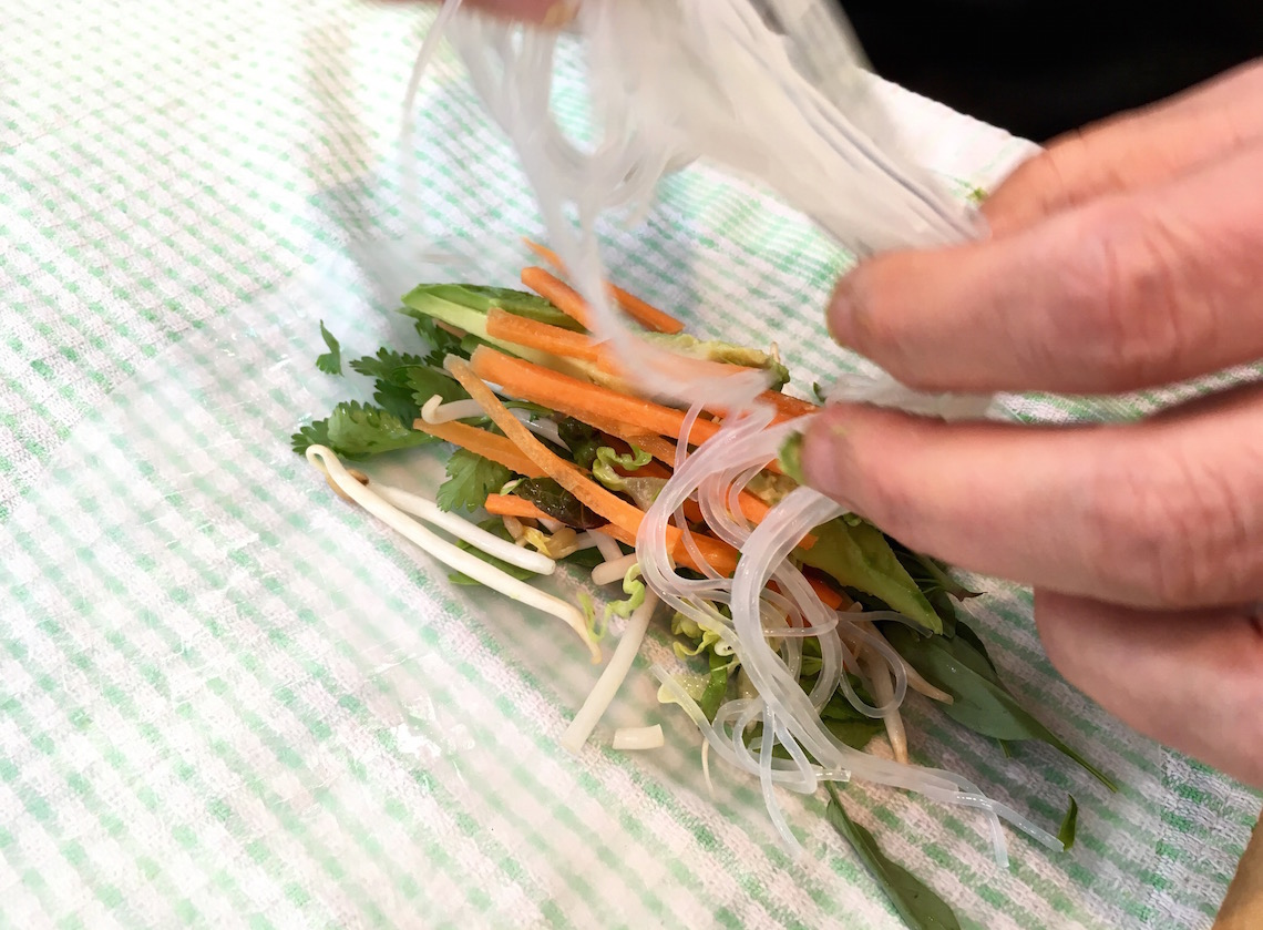 Making the spring rolls