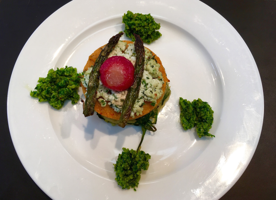 Polenta stack with wild garlic pesto