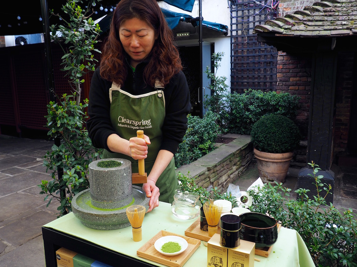 Grinding Matcha tea on National Tea Day