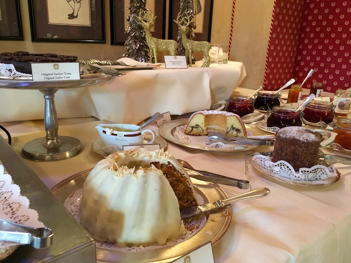 Cake for breakfast at Hotel Sacher on a weekend in Salzburg