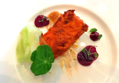Tandoor-baked salmon, Indian fine dining